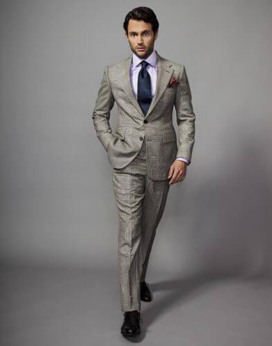 Penn Badgley prince of whales, Glen plaid , check, English wool, English suits, English Tailoring
